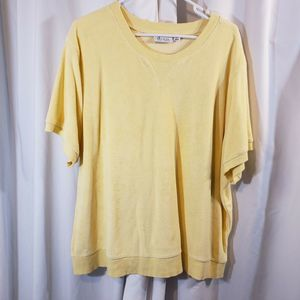 QVC plus 3x short sleeve crew terry sweat shirt